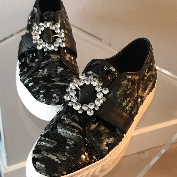 Katy Perry Collections Shoes - Glittery van styled - Black sequins everywhere.